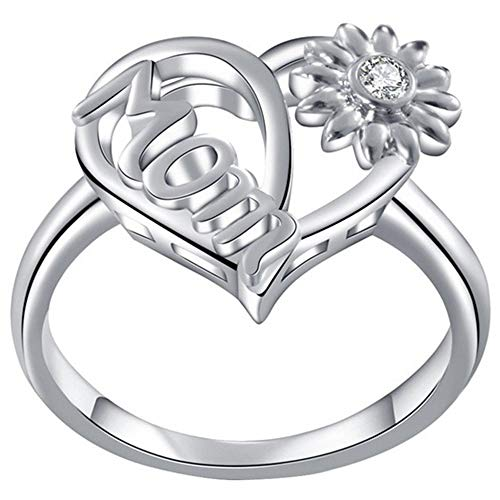 Platinum Plated Sunflower Style Mother's Day Mom Birthday Ring (Silver, 7)