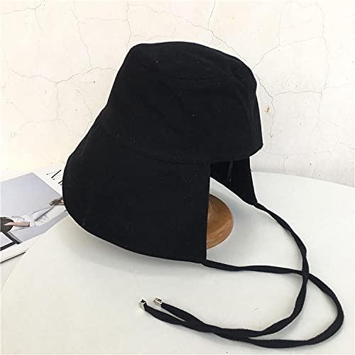 INS Primavera y otoño Sombrero de pescador Totte simple Lado de las mujeres sobre el sol de la puesta del sol Baijia Gorra de cabina de estudiante Plegable-black_Code