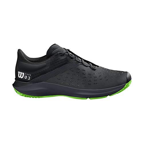 Wilson Kaos 3.0 Clay, Zapatilla de Tenis para Tierra Batida, tenistas de Cualquier Nivel para Hombre, Negro/Verde, 41 EU