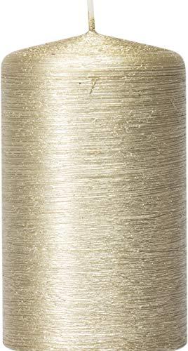 safe candle Dekorierte Kerze Rustikana selbstverlöschend, Höhe 10cm / Ø 6cm, 36 Std. Brenndauer (Creamgold)