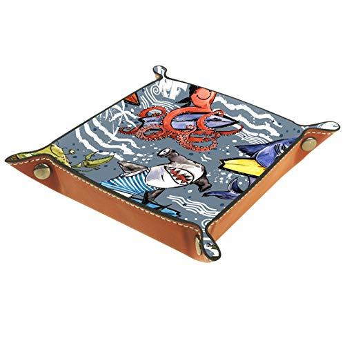 TIKISMILE Bandeja de almacenamiento de piel con diseño de peces marinos, diseño vintage de surf para pintalabios, organizador de cosméticos, bandeja para el hogar, oficina y escritorio, placa cuadrada