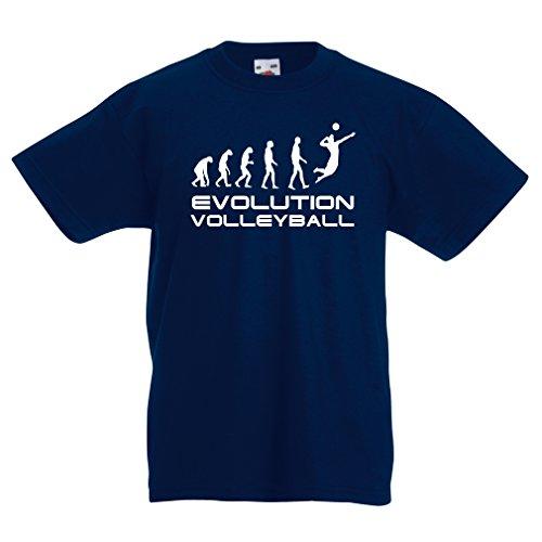 lepni.me Kinder Jungen/Mädchen T-Shirt Die Geschichte und Entwicklung des Volleyballspiels (12-13 Years Dunkelblau Weiß)