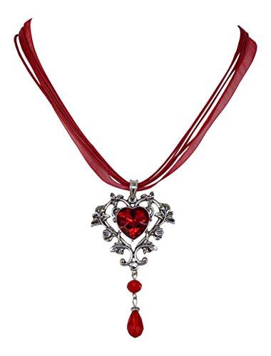 Trachtenkette Kristall Herz - Trachtenschmuck im floralen Design - Dirndl Collier (Rot/Siam)