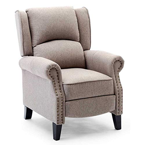 More4Homes CHARLOTTE MODERN FABRIC PUSHBACK RECLINER ARMCHAIR SOFA ACCENT CHAIR RECLINING (Pumice)