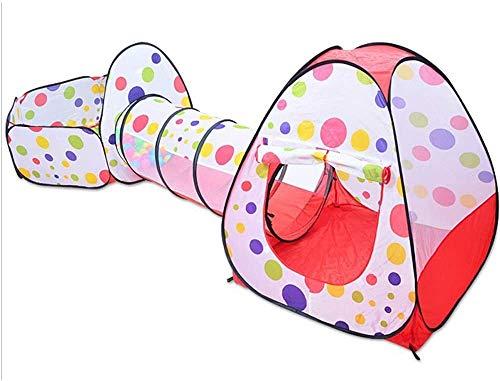 Juguetes para niños, parque infantil pop-up tienda tienda de tres casas de juegos infantiles con túneles y cremalleras bola de pozo y fácil de plegar,Multi colored