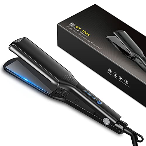 Bcway Professional Hair Straightener, 2.16'' Extra-Large Floating Titanium Flat Iron for Hair, 30s Instant Heating Straightening Iron with 5 Adjustable Temp, Anti-Static Hair Iron for All Hair Types