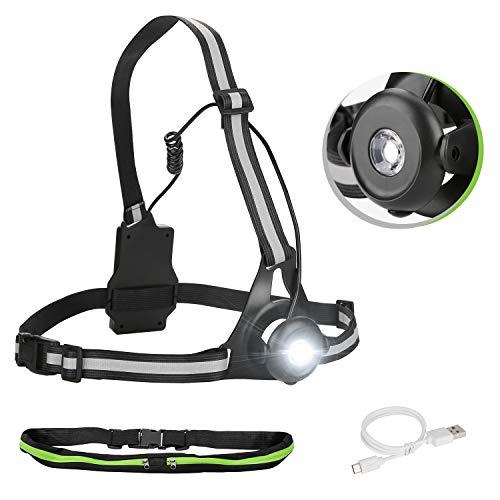Lauflampe Joggen Brustlampe 90° drehbar LED Lauflicht USB wiederaufladbar Running Light für Nachtsport