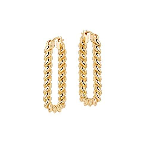 El nuevo europeo y americano ins malla rojo espiral cáñamo texturizado cobre chapado en oro pendientes nicho tendencia pendientes