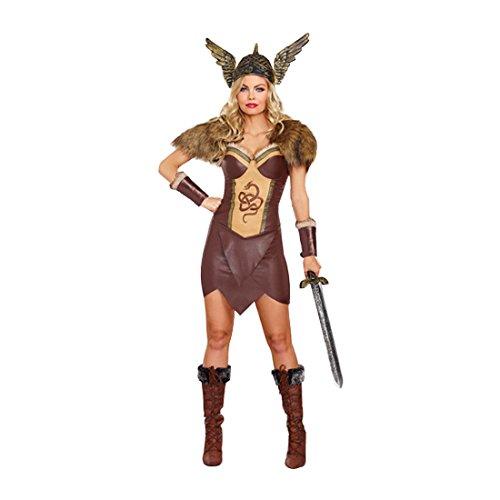 Dreamgirl Women's Voracious Viking Costume, Brown/Beige, Small