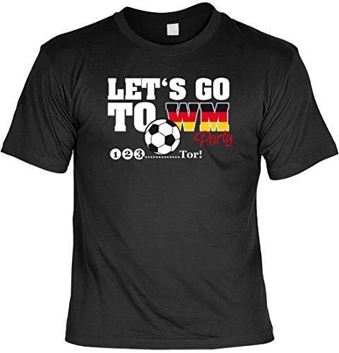 Let s go to WM-Party 1 2 3 Tor Länderspiel - T-Shirt für IHN inkl. Blechschild - Funshirt - Geschenkidee, Größe:3XL