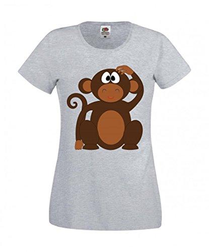 Camiseta Affe de chimpanse de animales, Niedlight, dibujos animados, mundo animal, salvaje, asertivo, personaje, jungla, natural, marrón, safari para hombre, mujer, niños, 104 – 5 XL gris Mujer Gr.: X-Small
