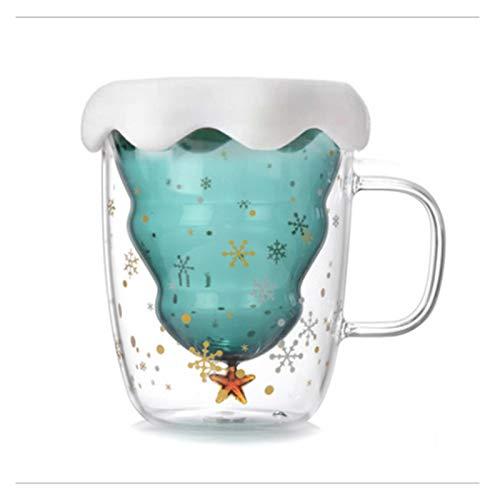 JSJJRGB Taza de Agua Creativo 3D Transparente Doble Anti-Scalding Copa de Navidad Taza de café Taza de Jugo Leche niños (Color : with Cover)