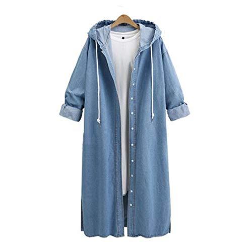 Xmiral Damen-Mantel mit Kapuze beiläufige Lange Hülsen-Denim-Jacket-Knopf Drawstring Lange Jean Coat Outwear (L,hellblau)