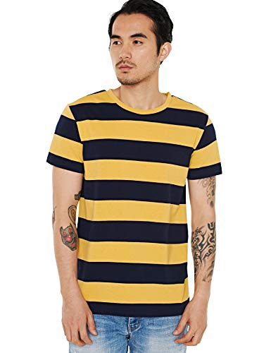 Zbrandy Wide Striped T Shirt for Men Sailor Tee Red White Black Navy Stripes Top Basic, Yellow Stripes on Black, Large