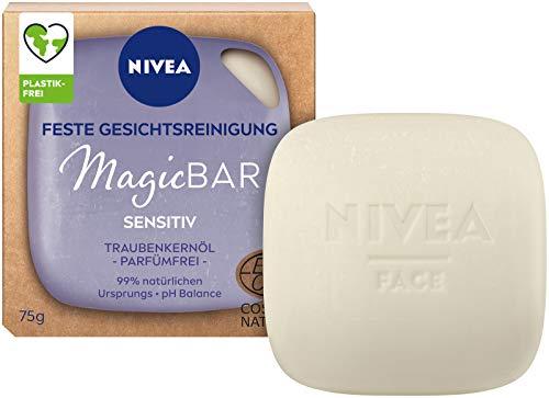 NIVEA MagicBar Sensitiv - Limpiador facial fijo, 75 g, sin perfume, cosmética natural certificada con aceite de pepitas de uva