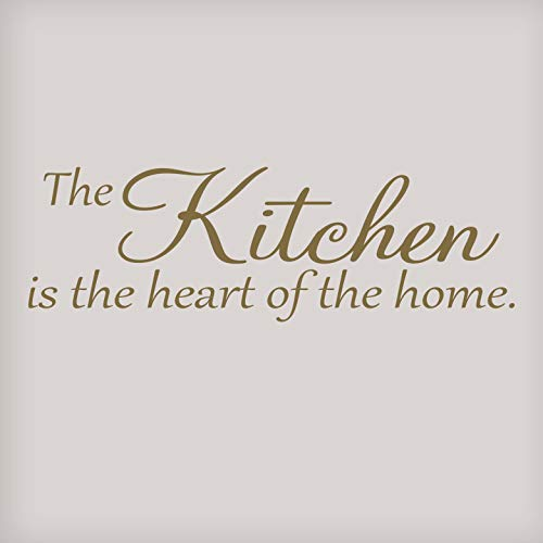 Vinyl Quote Me The Kitchen is The Heart of The Home Wall Decal Sticker Decor | Kitchen Wall Decals | Kitchen Wall Sticker | Kitchen Wall Decor | 33x10.5-Gold