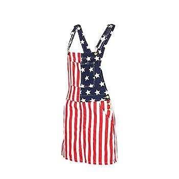 XBTCLXEBCO Women Denim Dress Overalls Adjustable Strap Overalls Denim Bib Skirt Distressed Jeans Jumpsuit with Pockets  National Flag m m