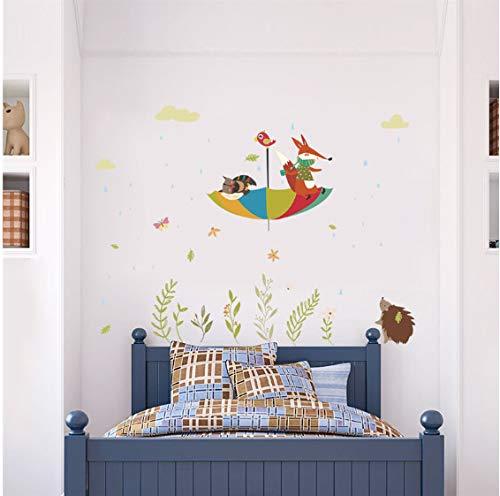 Owl Fox Bird Parapluie Sticker Mural Chambre D'Enfant Décor À La Maison