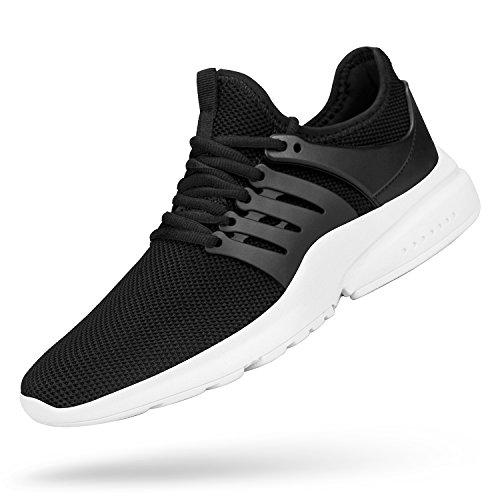 Feetmat Men's Non Slip Work Tennis Mesh Resistant Sneakers Lightweight Breathable Athletic Running Walking Tennis Shoes Black White 10