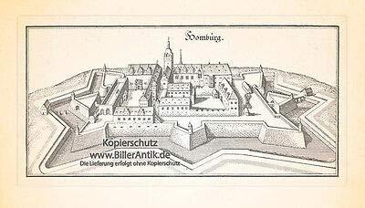 Kunstdruck Homburg Grundriss SAAR Saarland Schloß Karlsberg Festung Hohenburg Merian 0666