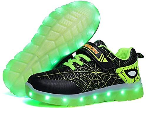 Scarpe da Ginnastica A LED per Bambini [Nuova Versione 2020] Scarpe da Ginnastica Luminose Ricaricabili per Ragazzi, Nuove Spiderman (28 EU,Verde)