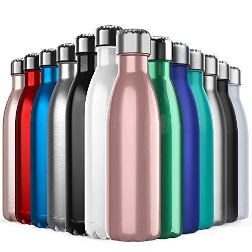 BICASLOVE Vakuum Isolierte Edelstahl Trinkflasche - 500ml, Die Thermoskanne hält 18 Stunden heiß und 24 Stunden kalt für Kinder, Kleinkinder, Schule, Sport, Outdoor, Fitness, Büro(Roségold)