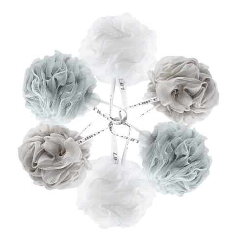Lifeforce Lot de 6 fleur de douche, Éponges pour le corps, Éponge de bain avec un nouveau procédé de nouage, Éponge exfoliante aux hommes et aux femmes - Épaisses, Belles couleur