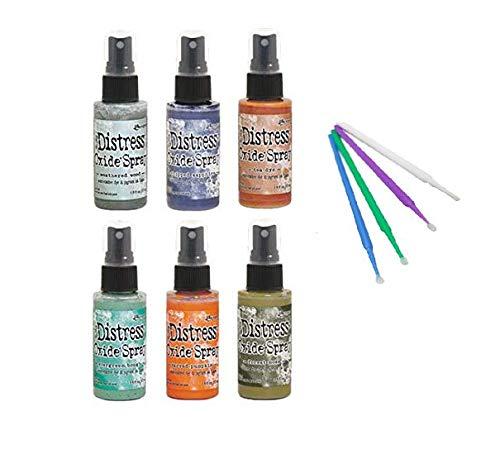 Ranger Bundle Distress Oxide Spray Fall 2019 Collection with PTP Flash Deals Blending Sticks (6 Bold Collection)