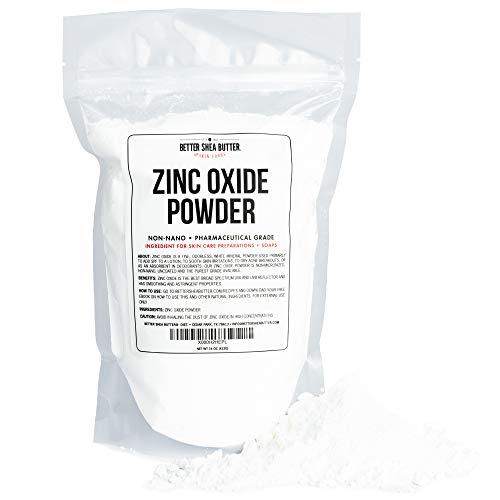 Zinc Oxide Powder 1 lb - Uncoated & Non-Nano - 100% Pure, Pharmaceutical Grade - for DIY Sunscreen, Lotion, UVA and UVB Protection - Ideal for Diaper Rash Creams - by Better Shea Butter