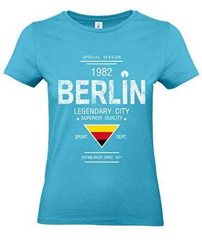 Smilo & Bron Damen T-Shirt Damen mit Motiv Berlin Bedruckt Türkis Swimming Pool XS