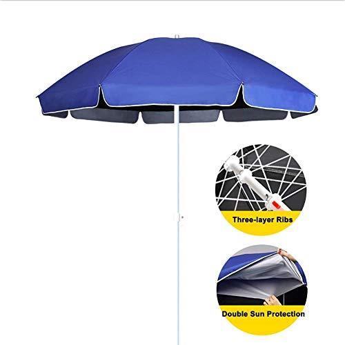 NMDD Sonnenschirm Regenschirm Blau Schwarz Sonnenschirm, Markt Tischschirm für gewerbliche und Private Zwecke, Kleiner Bistro-Sonnenschirm mit 8 Rippen