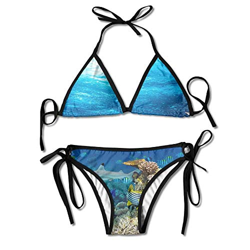 Women's Thong Bikini Suit Swimsuit Underwater Coral Reef Landscape Sexy Bikini Set 2 Piece