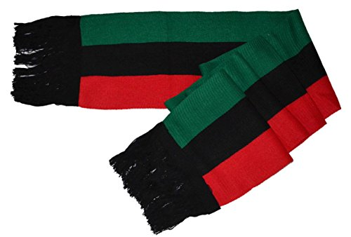 MM Red Black and Green Pan-african Flag Inspired Scarf 8″80″