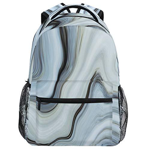Oarencol Mochila abstracta de mármol gris azul acuarela Art Bookbag Daypack Viajes Senderismo Camping School Laptop Bag