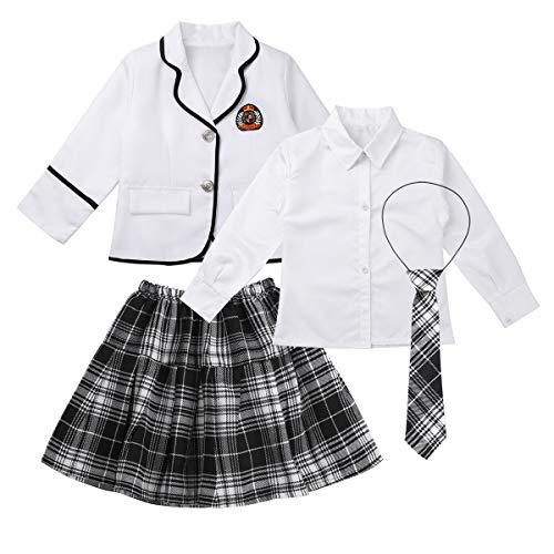 TiaoBug Mädchen Schulmädchen Kostüm Komplett Uniform Jacke Blazer + Langarm Bluse Weißes Hemd, Karierte Krawatte Mini Rock Japanischer Anime Fasching Weiß 122-128