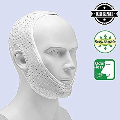 Anti Snoring Chin Strap for Cpap Users, Comfortable Mesh Breathable My Stop Snoring Solution Chin Strap Anti Snore Stopper Anti Snoring Devices Strips Mask Belt Head Jaw Sleep Aid for Women Men(White)