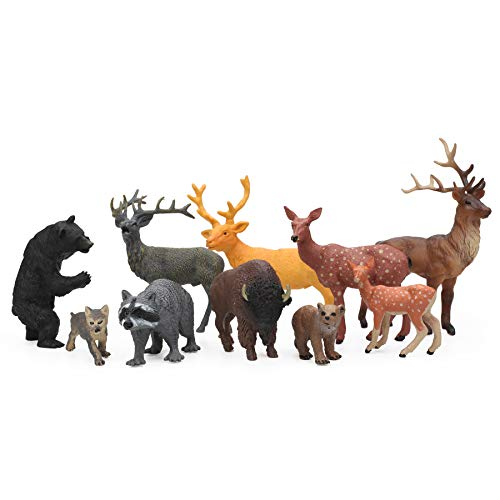 10pcs Safari Woodland Animal Figures, Plastic Forest Animal Figurines Deer Toy Playset for Kids Cake Toppers
