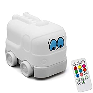 Night Light for Kids,ilavie Cute Fire Truck Silicone Kids Night Light with Touch Sensor Remote Control, USB Rechargeable & Portable Color Changing for Baby Kids Infant Toddler Nursery Gift