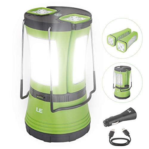 LE LED Camping Lantern Rechargeable, 600LM, Detachable Flashlight, Perfect Lantern Flashlight for Hurricane Emergency, Hiking, Fishing and More, USB...