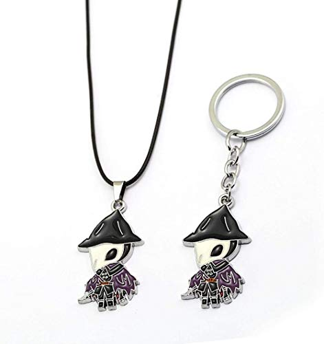 CCXXYANG Co.,ltd Collar 2 Piezas Juego De Moda Joyería Bloodborne Llavero Collares Crow Hunter Metal Llavero Figura Encantos Colgante Regalo