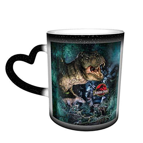 N\A Jurassic Mug Park Taza de café Que Cambia de Color Taza Sensible al Calor Que Cambia en el Cielo Taza de té de cerámica Que Cambia de Color, 12 onzas Negro