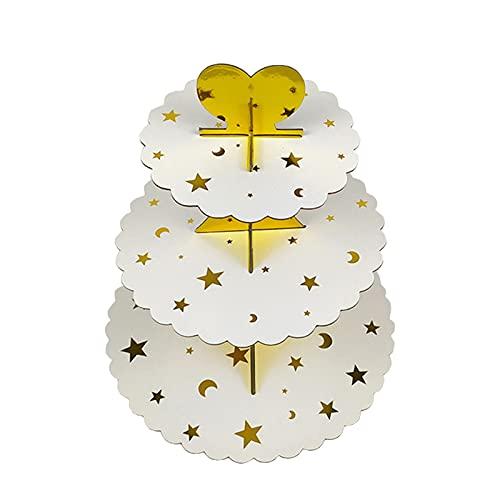 Keleily Alzata per Torta Cartone,Vassoio Della Torta,Alzata per Cupcake,Supporto per torta a 3 livelli Supporto per tè pomeridiano da dessert matrimonio Anniversario bambini Festa di compleanno