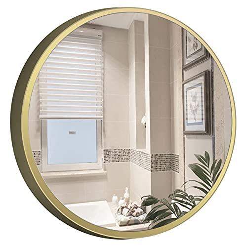 FHISD Espejo redondo para baño, baño, tocador, sala de estar, dormitorio, entrada
