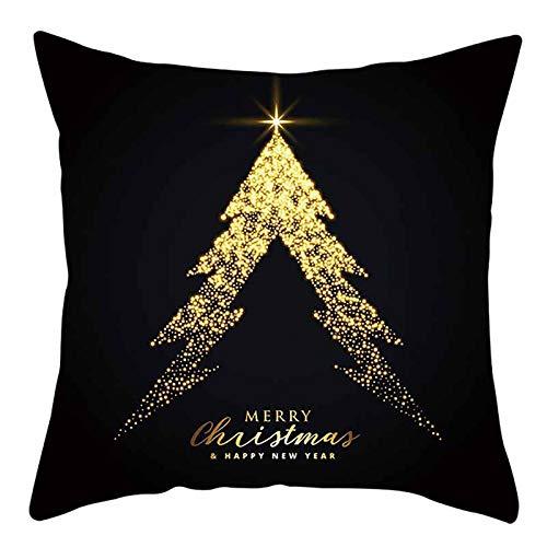 OMMR Set de 4 Fundas Navideñas para Cojines,Almohada de Lino,Fundas de Almohada Navidad,Algodón Lino Throw Pillow Case Funda de Almohada,Fundas Cojines de Navidad(45 * 45cm)
