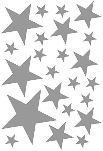 Samunshi® Sterne Aufkleber Set gefüllt 14x2,5cm6x5cm2x7,5cm1x10cm grau