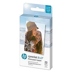 HP Sprocket Papier Photo AdhÃsif ZINK Premium 5x7,6 cm (20 Feuilles) Compatible avec les Imprimantes Photo HP Sprocket