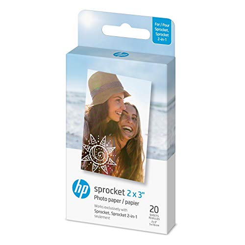 HP Sprocket 2x3' Premium Zink Sticky Back Photo Paper (20 Sheets) Compatible with HP Sprocket Photo Printers.