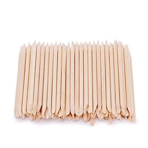 Artlalic Lot de 100 bâtonnets en bois orange pour repousser et supprimer les cuticules Outil de manucure