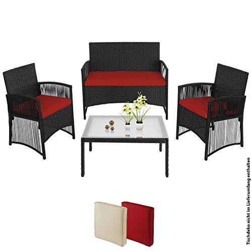 BB Sport 7-teilige Polyrattan Garten Sitzgruppe 4 Personen mit Tisch und Kissen in extravagantem Design Zweisitzer Sessel Balkon Terasse, Farbe:Abendsonne