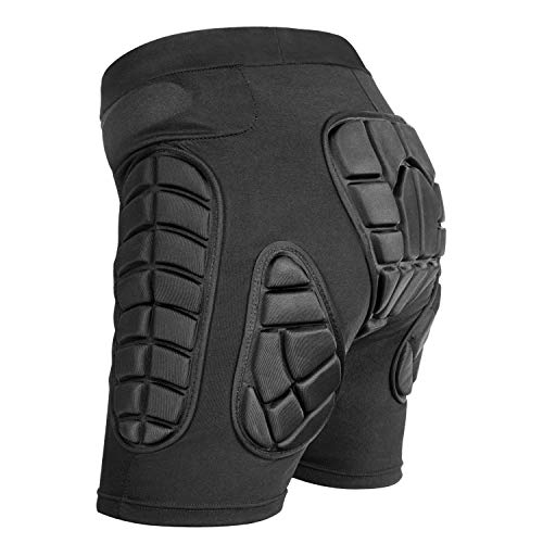 Protective Padded Shorts,3D Protection for Hip,EVA Pad Short Pants Protective Gear (Black, L)